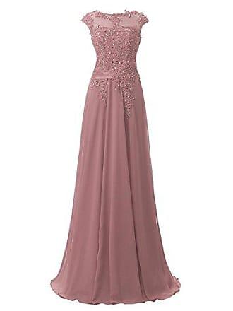 39a2c06d39187 Clearbridal Damen Chiffon Lange Ballkleider Abschusskleider Abendkleider  mit Applikation CSD181 Mauve Gr.EU40
