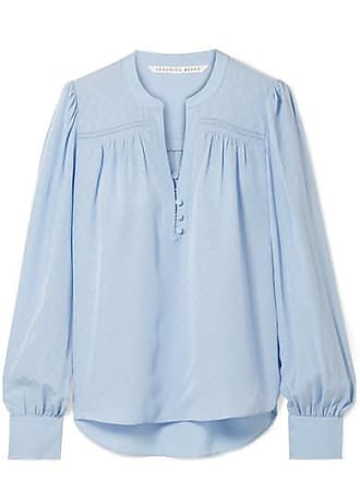 Veronica Beard Abbie Silk-satin Jaquard Blouse - Light blue