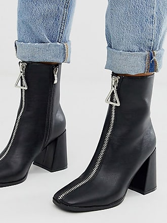 Z_Code_Z Exclusive Aylen vegan zip front heeled ankle boots in black