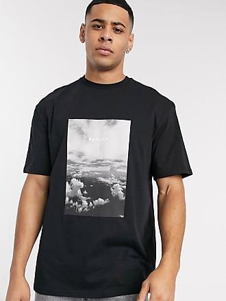 Topman Schwarzes T-Shirt mit Wolkenprint
