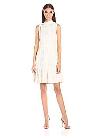 Vince Camuto Womens Sleeveless Mock Neck Ruffle Lace Flare Dress, Antique/White, X-Large