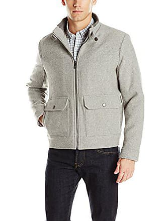 Kenneth Cole Mens Wool Blend Bomber, Light Grey, Medium