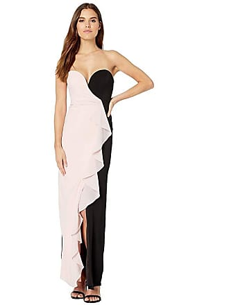 365d60f17426 Nicole Miller Strapless Ruffle Gown (Peach Daquari/Black) Womens Dress