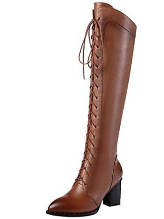 7327a82c25bf53 Aiyoumei Damen Winter Leder Kniehohe Stiefel mit 7cm Absatz und Schnürung  Eelgant Winter Knee High Boots