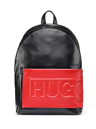 3ed6b2a4143f HUGO BOSS Hugo Boss Leather backpack logo-embossed fabric pocket One Size  Black