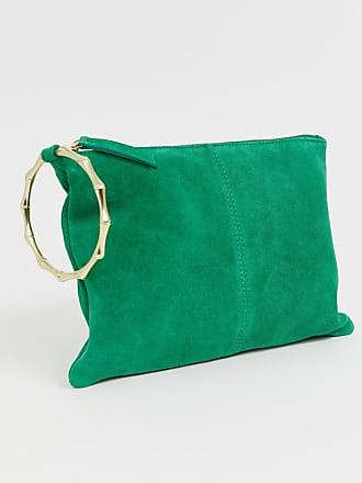 aa5b9a7f4e Asos Pochette in pelle scamosciata con anello in bambù - Verde