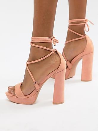 3a44efbfb19 Public Desire Freesia Peach Platform Block Heeled Sandals