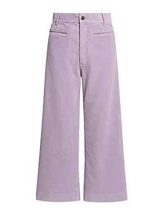 A.L.C. Jay Corduroy High-rise Wide-leg Cropped Pants Lilac