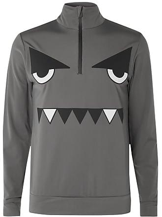 Fendi Slim-fit Appliquéd Fleece-back Tech-jersey Half-zip Base Layer - Anthracite