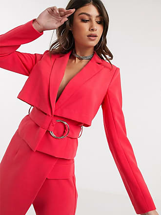4th & Reckless cropped blazer with back detail in raspberry-Pink