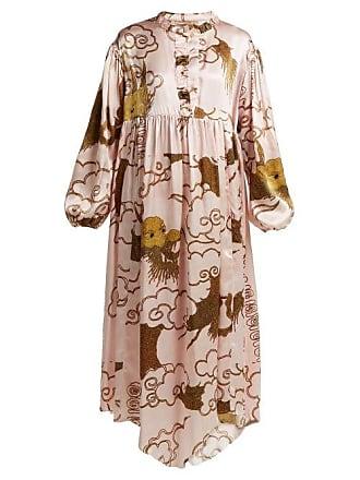 By Walid Print Silk Satin Dress - Womens - Pink Print