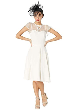Unique Vintage 1940s Style Swiss Dotted Mesh Heather Midi Dress (Ivory) Womens Dress