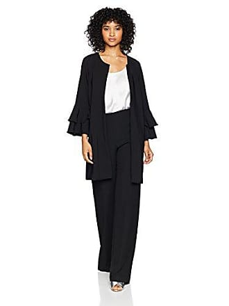 Kensie Womens Thick Stretch Twill Jacket with Tier Bell Sleeve, Black, XL