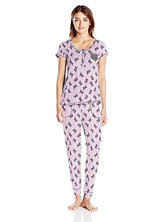 Layla Womens Printed Short-Sleeve Jersey Pajama, Pink, Medium