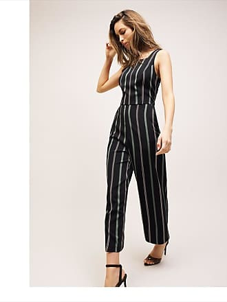 Dynamite Dakota Tie Back Jumpsuit Black & Green Stripe
