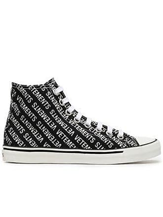 d0047a0a819 VETEMENTS Vetements Woman Embellished Printed Canvas High Top Sneakers  Black Size 35