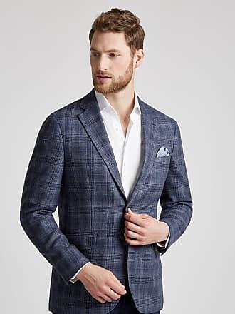 Hackett Mens Silk-Wool Windowpane Check Blazer | Size 36Regular | Blue/Brown