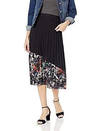 46a35a2c6 Nicole Miller Womens Knee Length Flowy Midi Skirt, Black Multi Pleated 10