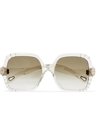 Chloé Square-frame Acetate And Gold-tone Sunglasses - Beige