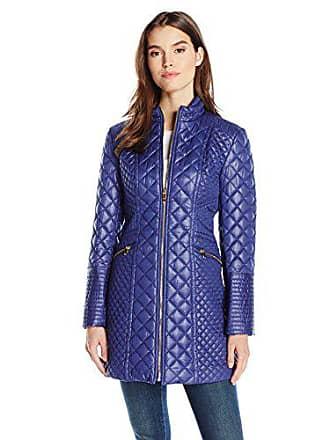 Via Spiga Womens Diamond Quilted Mid-Length Lightweight Jacket, Positano Blue, Medium