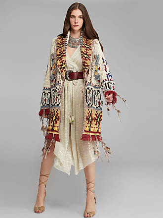 Etro Knitted Jacquard Coat With Tassels, Woman, Multicolor, Size 40