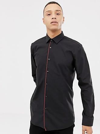 HUGO BOSS Esmo - Camicia super slim nera con abbottonatura a contrasto -  Nero f46fa2e91c7