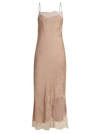 Carine Gilson Lace Trimmed Silk Satin Cami Maxi Dress - Womens - Nude