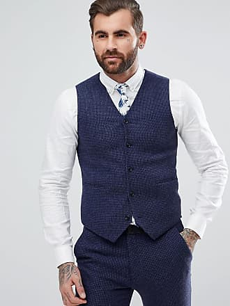 af7e006abe57 Asos wedding super skinny suit vest in blue micro check - Blue