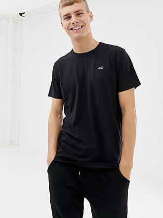 Hollister Schwarzes T-Shirt mit Rundhalsausschnitt und Möwenlogo