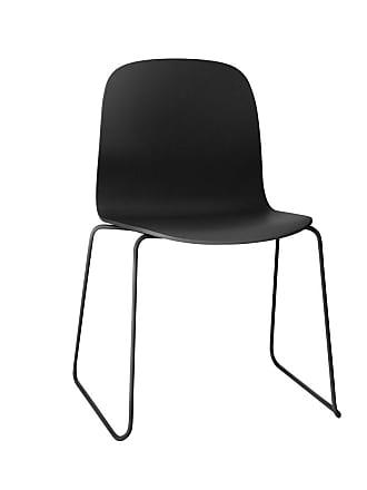 MUUTO Visu Stuhl mit Kufengestell - schwarz/esche - lackiert/Gestell schwarz lackiert