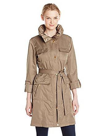Ellen Tracy Outerwear Womens Safari Techno Trench Coat, Basil, Small