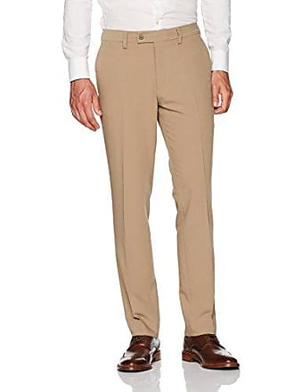 Louis Raphael Mens Modern Fit Flat Front 5 Way Stretch Dress Pant, Tan 40W x 32L