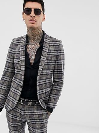 Twisted Tailor Giacca da abito super skinny scozzese mélange-Grigio