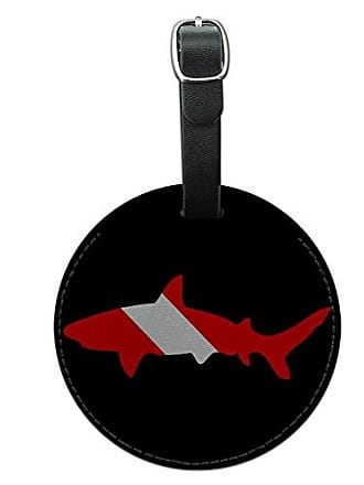 Graphics & More Graphics & More Shark Scuba Symbol On Black Diver Dive Round Leather Luggage Id Tag Suitcase