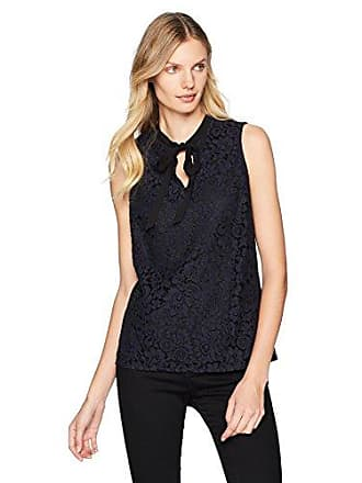 Adrianna Papell Womens Sleeveless tie Front lace top, Navy/Black, Small