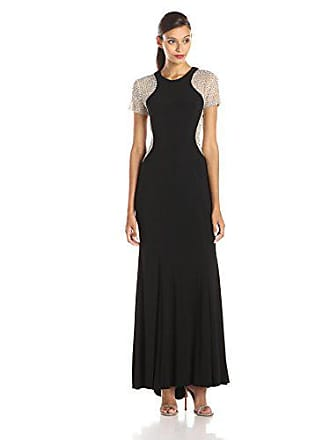 Xscape Womens Beaded Short Sleeve Gown, Black/Nude/Silver, 4
