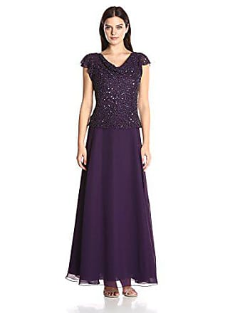 J Kara Womens Long Beaded Cowl Neck Flutter Sleeve Gown Dress, Plum/Shaded, 8