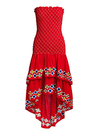 Alexis Revada Geometric Embroidered Tiered Knee Length Dress Red
