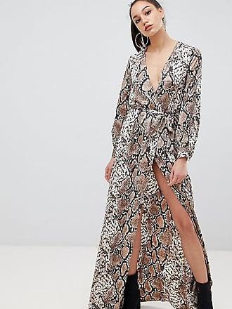 2850c67165b7 Missguided Tall Esclusiva Missguided Tall - Vestito lungo a portafoglio  effetto pelle ri serpente con spacco