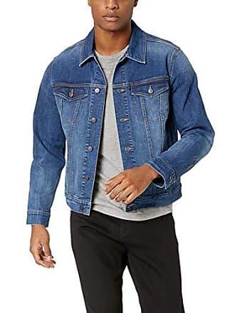 Amazon Essentials Mens Denim Trucker Jacket, Medium Blue Wash, X-Small