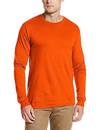 Soffe Mens Pro Weight Long Sleeve Tee Safety Orange Medium