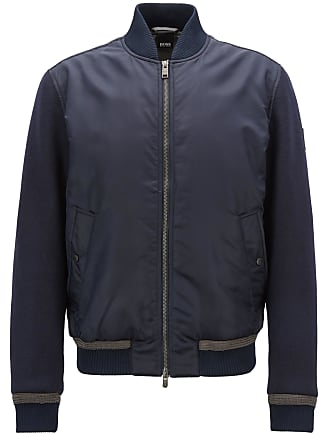 BOSS Hugo Boss Lightly quilted bomber jacket in water-repellent fabric 44R Open Blue