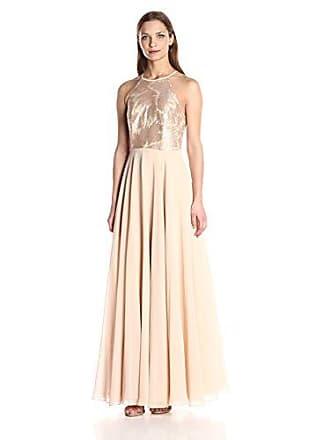 0bd60538de3015 Carmen Marc Valvo Womens Strapless Sequin Halter Gown W/Chiffon Flowy  Skirt, Champagne,