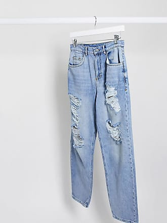 Collusion x014 busted ripped dad jeans in stonewash-Blue