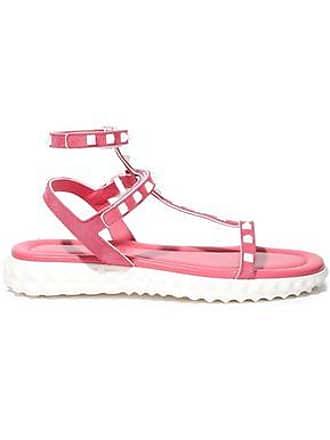 b92a26c89eb4b Valentino Valentino Garavani Woman Rockstud Suede And Leather Sandals Pink  Size 41