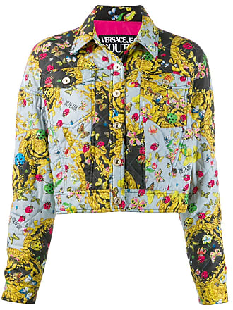 Versace Jeans Couture quilted floral-print Baroque jacket - Azul