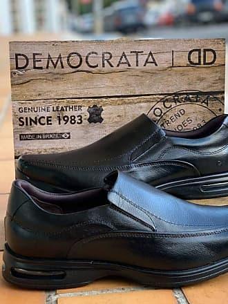 Democrata Sapato Couro Masculino Democrata Air Spot 448027-001 Preto