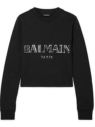 Balmain Cropped Appliquéd Cotton-jersey Sweatshirt - Black