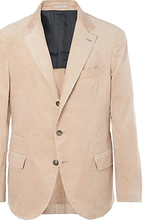 Brunello Cucinelli Beige Slim-fit Sea Island Cotton-corduroy Suit Jacket - Camel