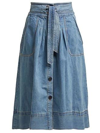 Sea New York Deja Tie Front Denim Skirt - Womens - Denim